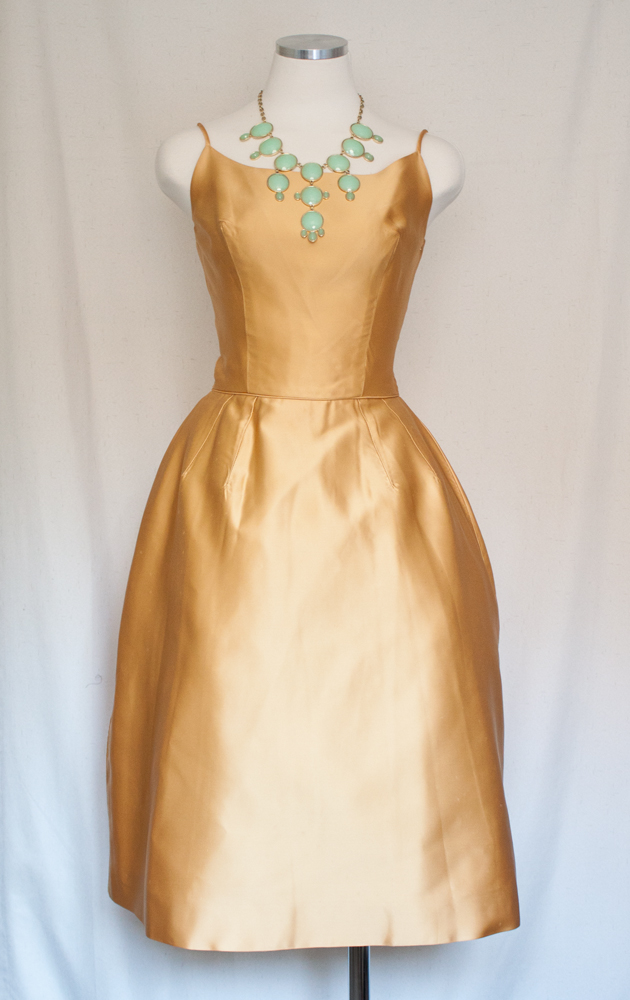 50s Mustard Yellow Satin Dress 1