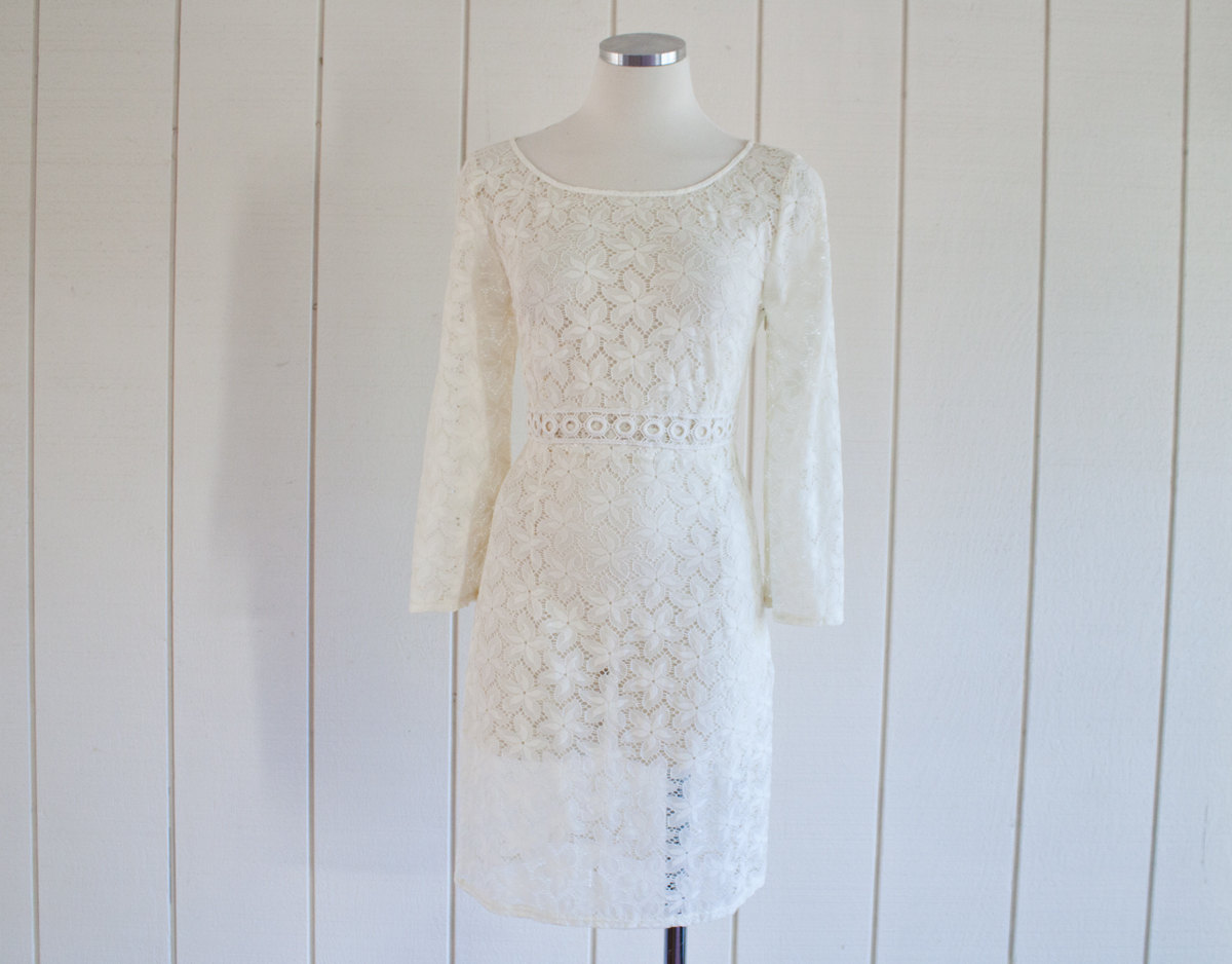 Cream Colored Starfish Eyelet Lace Pool Coverup Dress