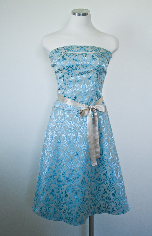 Marie Antoinette Inspired Brocade Dress In French Blue Floral Print