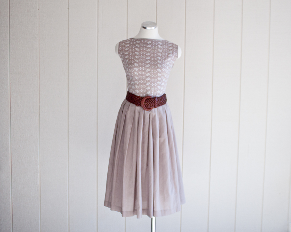 50s Tan Embroidered Top Cotton Dress
