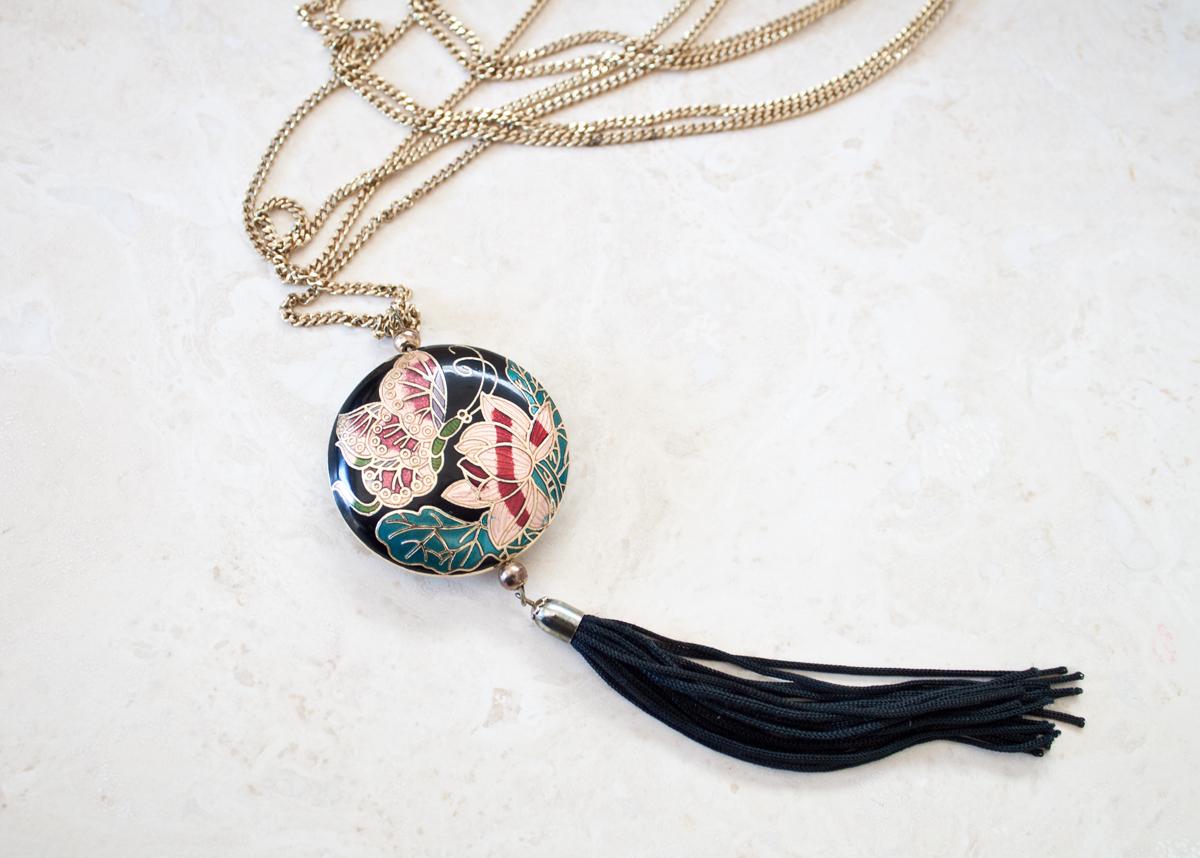 Long Gold Necklace w:Black Oriental Boho Tassle 4
