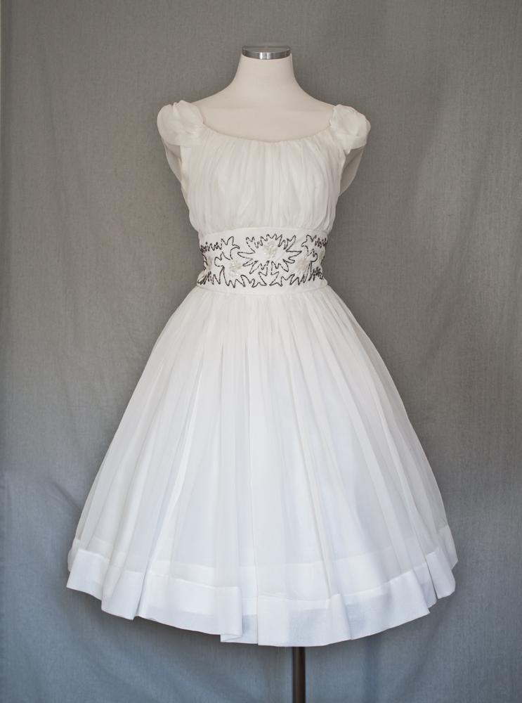 1950s White with Beade Cinched Waist Princess Dress 1