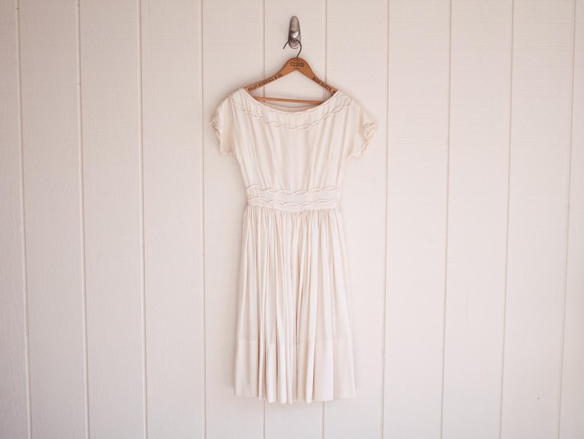 1950s Ivory Silk Embroidered Bust:Waist Dress 1