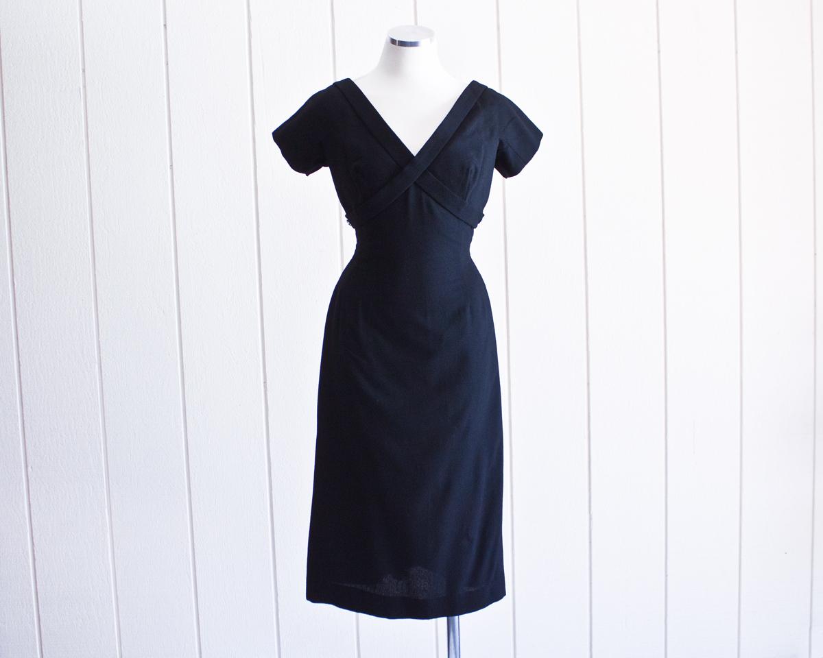 40s Jerry Greenwald Black Dress w:Rhinestones 1