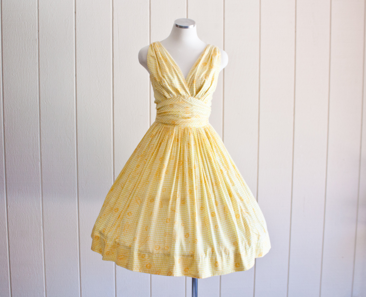 50s Yellow Cotton Butterfly Princess Dress 1